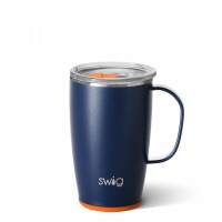 Navy and Orange Coloured 18oz Travel Mug By SWIG